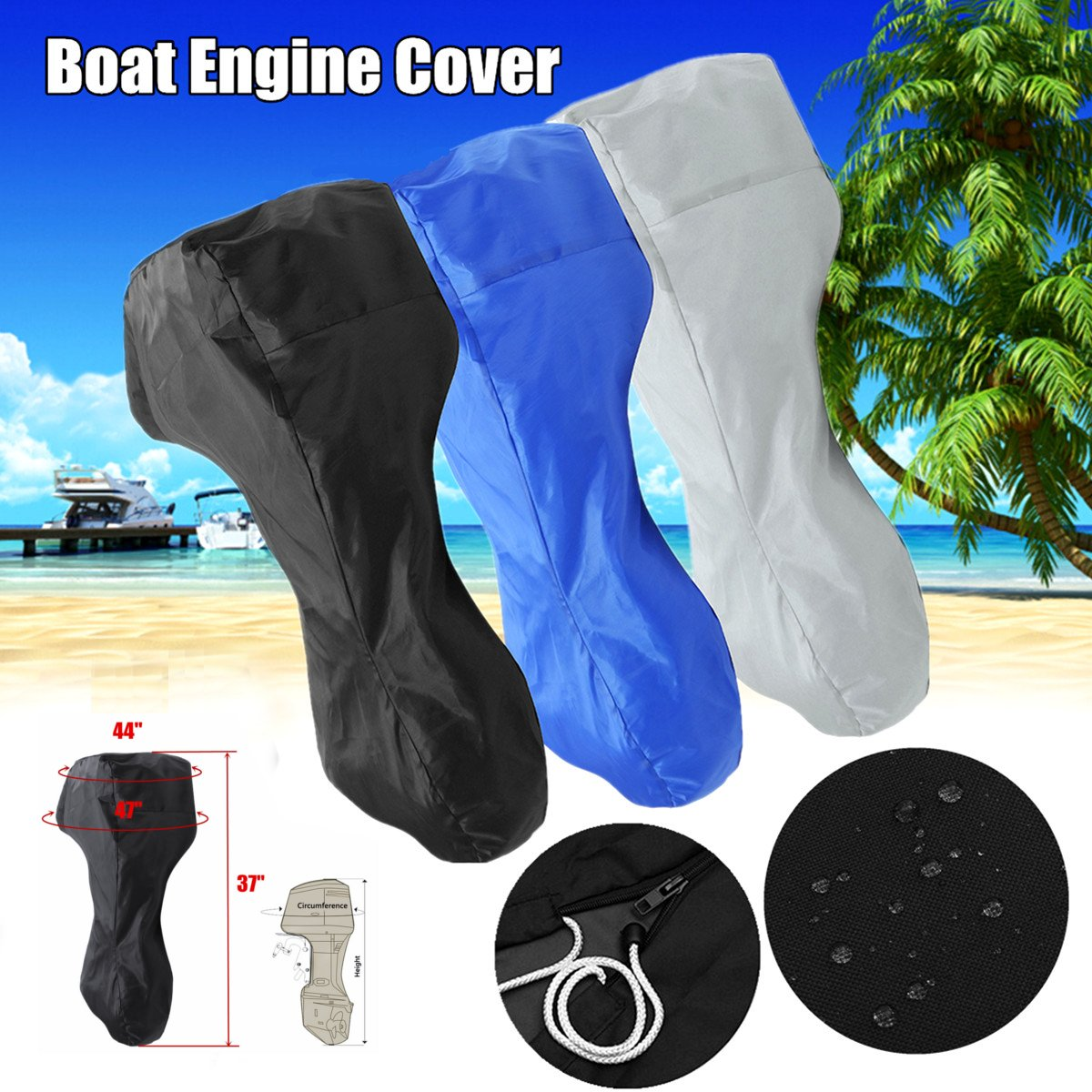 60-<font><b>150HP</b></font> Boat Engine Cover Full <font><b>Outboard</b></font> Motor Cover Waterproof Oxford Cloth 3 Color/Size image