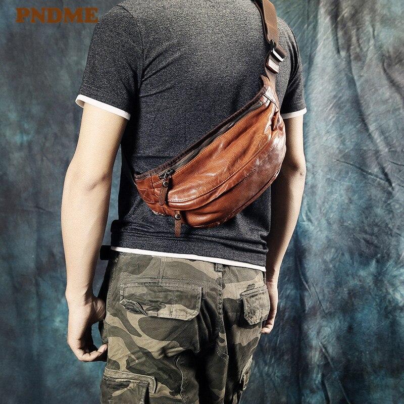 PNDME Fashion Vintage Genuine Leather Men's Chest Bag High Quality Soft Cowhide Waist Packs Casual Sports Shoulder Messenger Bag