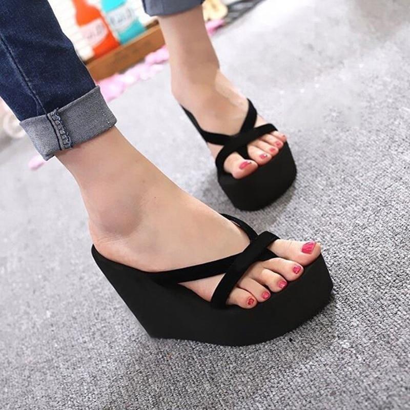 Platform Sandals Women High Heel  Summer Shoes Fashion Straped Slippers Beach Flip Flops Solid Slides Women