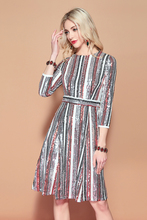 Baogarret Autumn Fashion Runway Sequined Dress Womens Long Sleeve Multicolor Striped Vintage Elegant Party