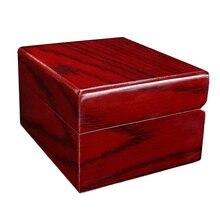 Caja de estuche de exposición para reloj de madera Vintage roja, almacenamiento de joyas, pequeño escaparate portátil