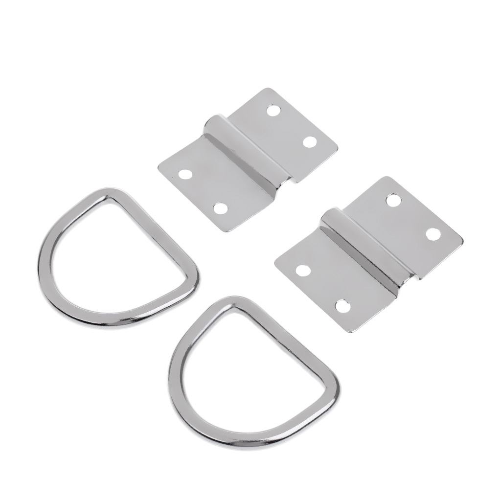 2Pcs Tie Down Lashing Ring & Cleat Load Securing Steel D Ring Anchor Point