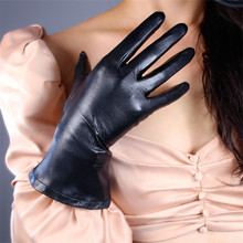 Womens Gloves Genuine Leather 28cm Imported Sheepskin Warm Black Lantern Puff Sleeves Unlined  Free Shipping ZPST01