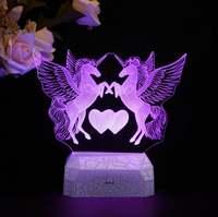 Animal Unicorn Goose Love Rose 3D Lamp Illusion Night Light LED RGB Bulb Multicolor Gift Kid Toy Holiday Nightligts Party Decor