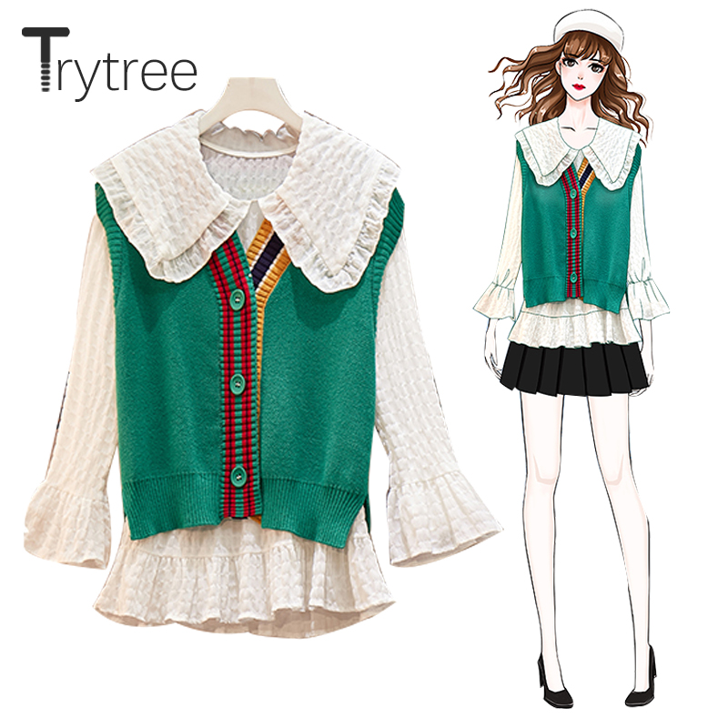 Trytree Autumn Winter Women Two Piece Set Casual Peter Pan Collar Ruffles Flare Sleeve Blouse + Vest Knitted Buttons 2 Piece Set