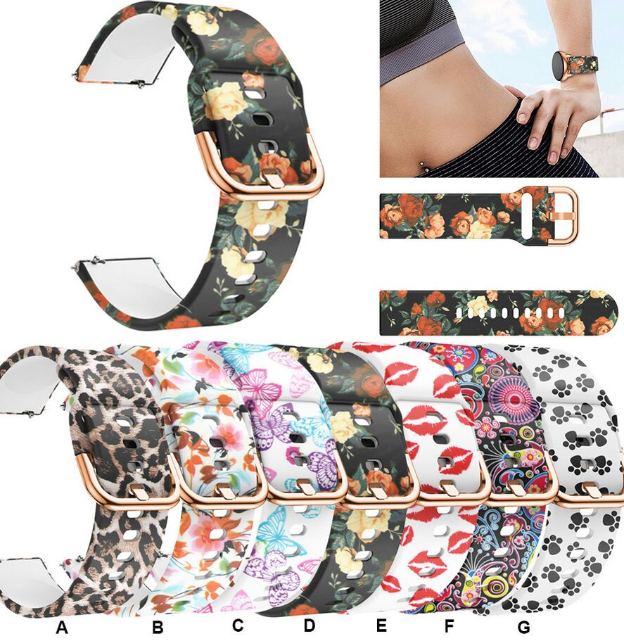 20mm Silicone Bands For Samsung Galaxy 42mm Active Watch Gear S2 Sport Band Flower Printing Replacement Bracelet Watchband Strap