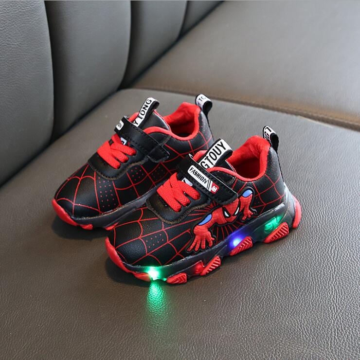 Brand Fashion LED Lighted Children Shoes Cute Spiderman Casual Kids Sneakers Infant Tennis Baby Girls Boys Shoes Footwear