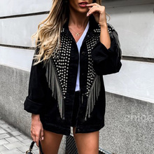 Punk Tassel Rivet Print Women Jacket Black Spring Fall 2019 Gothic Hip Hop Femal