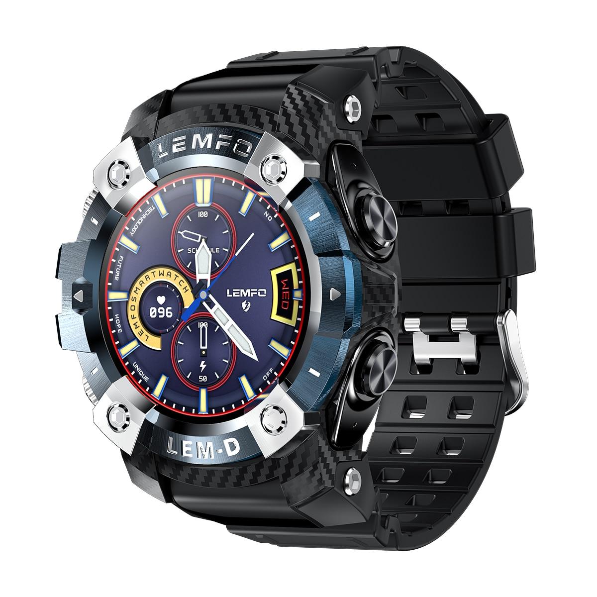 H03caa4ca15b84b93b53c544ff970e66fO LEMFO LEMD Smart Watch Wireless Bluetooth 5.0 Earphone 2 In 1