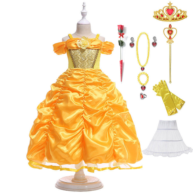 Kid Girls Baby Princess Dress Fairy Tale Fancy Costume Cosplay Tiara Wand Outfit