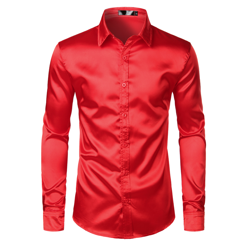 H03cab2ff37cf4d6cbaaf40d0d7945842l Men's Black Satin Luxury Dress Shirts 2020 Silk Smooth Men Tuxedo Shirt Slim Fit Wedding Party Prom Casual Shirt Chemise Homme