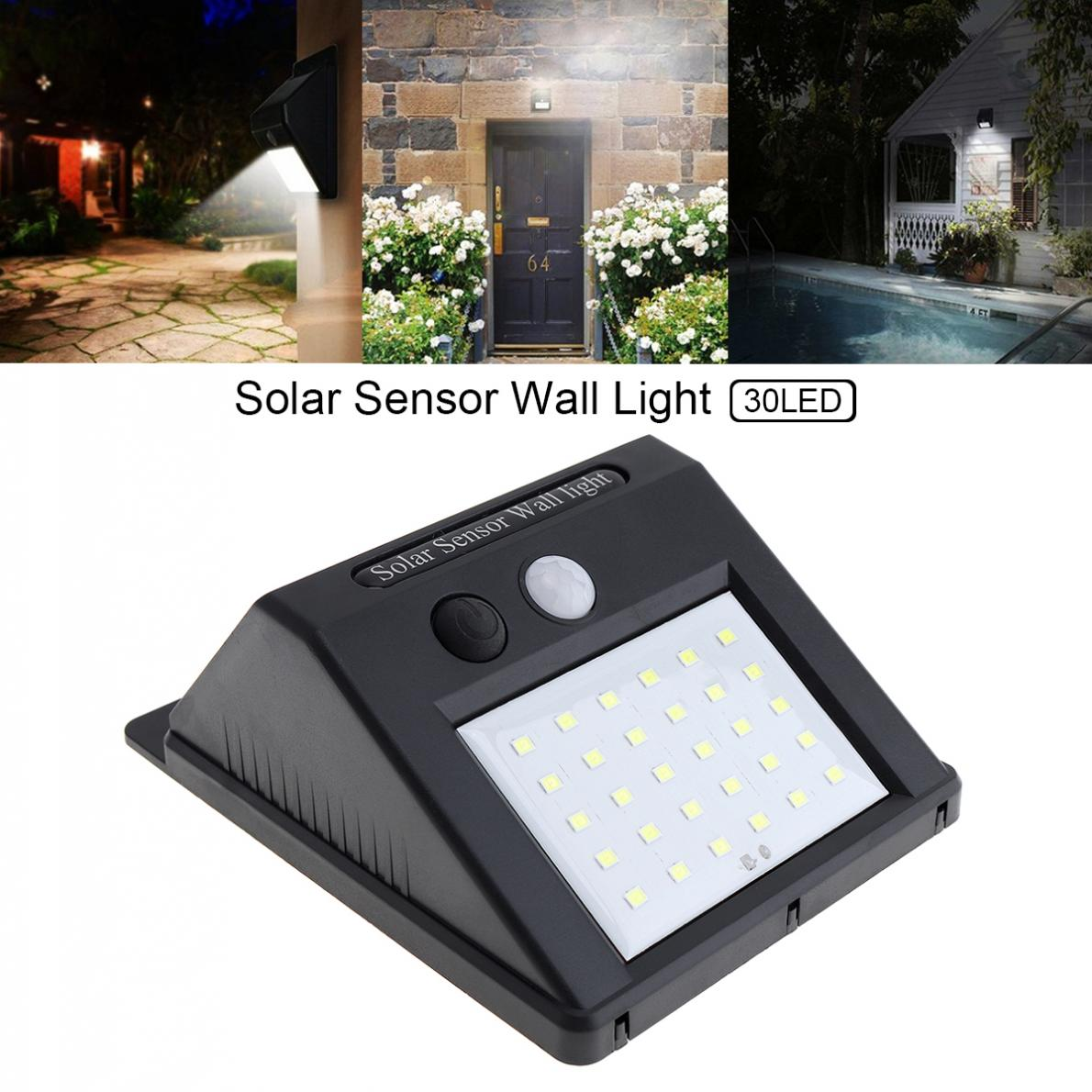 Holan Solar Sensor Light Outdoor Waterproof 30 LED Solar Sensor Wall Light With Light Sensation Switch For Garden Yard Driveway