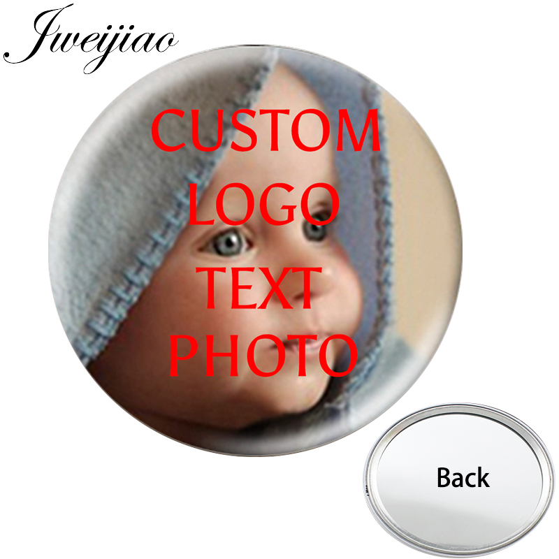 JWEIJIAO Personalized Photo One Side Pocket Mirror Smooth Compact Portable Simple Flat Makeup Mirror For Gift Drop Shipping(China)