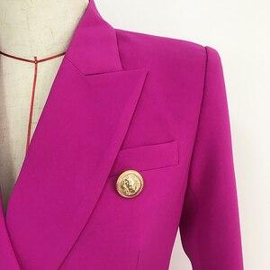 Image 4 - באיכות גבוהה הכי חדש 2020 מעצב בלייזר נשים של האריה כפתורי טור כפתורים כפול בלייזר מעיל סגול