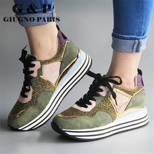 Mixed color ladies sneakers casual luxury designer sneakers with glitter women fashionable shoes black suede leather insole plus