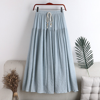 Bowtie Lace Up Women Skirts Cotton Linen High Waist Slim A-Line Pleated Skirt Patchwork Student Long Midi Skirt OL Jupe Femme lace up stripes a line midi dress