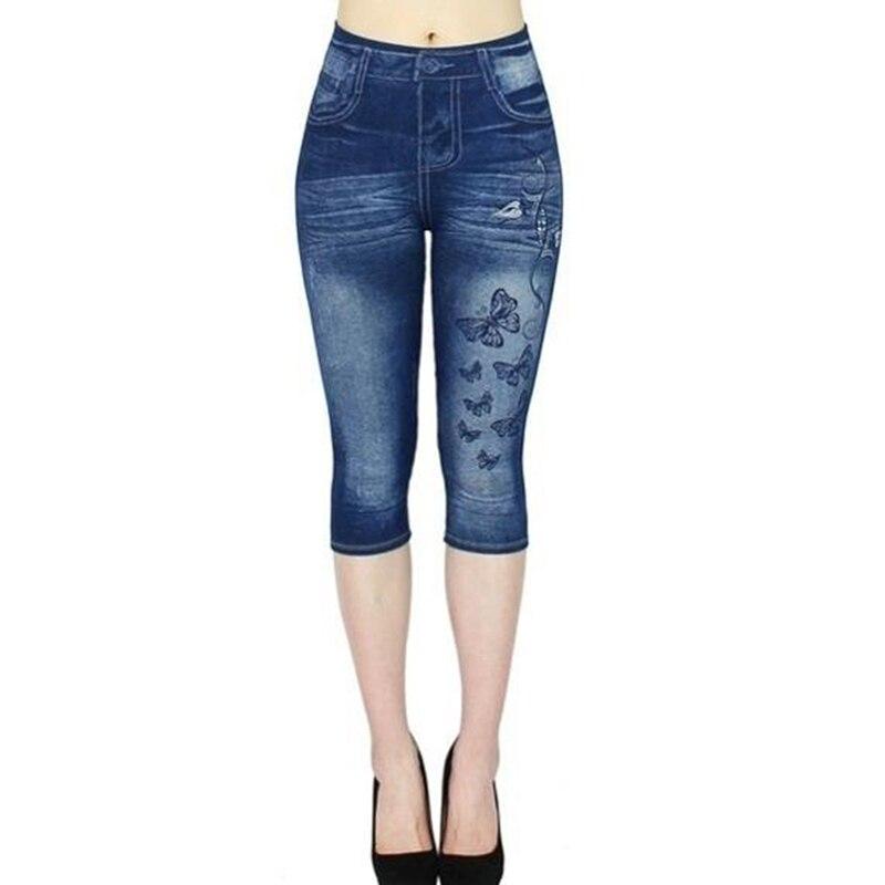 Woman High-waisted Jeans Fashion Lady Printing Imitation Denim Calf -length Pants High Elastic Slim Jeans For Femme