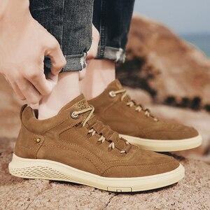 Image 5 - Chaussures de sport pour hommes, en cuir véritable, chaussures de sport en caoutchouc, plate, de haute qualité, chaussures décontractées, hiver, à la mode, à lacets