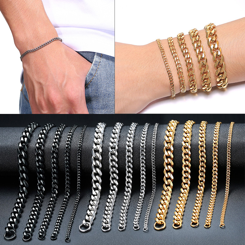 Vnox Mens Simple 3-11mm Stainless Steel Curb Cuban Link Chain Bracelets for Women Unisex Wrist Jewelry Gifts(China)