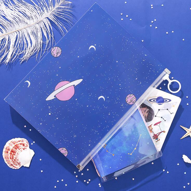 1PC Kawaii Creative A5 PVC Waterproof File Folder Desk Document Paper Organizer Bag Pencil Notebook Bags School Stationery