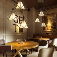Iron Chandelier LED Down Light Retro Durable White E27 Pyramid Kitchen Home Decor Ceiling Down Light Diamond Flush Mount