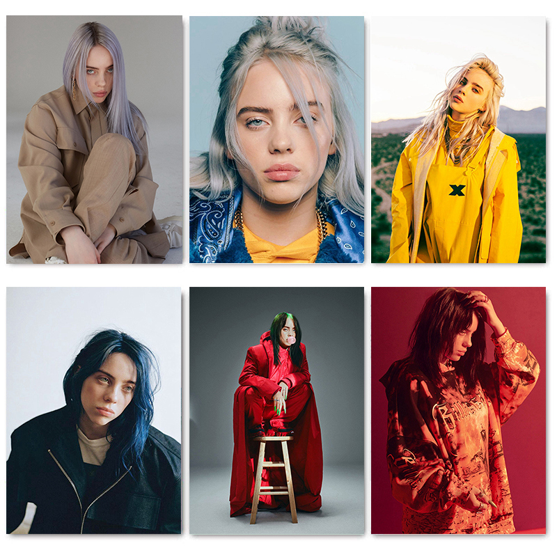 Singer Star Billie Eilish Poster White Coated Paper Art Wallpaper Home Room Wall Decoration Fashion Painting