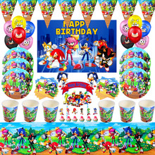 Hot Sonic the Hedgehog Theme Birthday Party Decorations Kids Disposable Tableware Set Baby Shower Sonic Party Decor Supplies