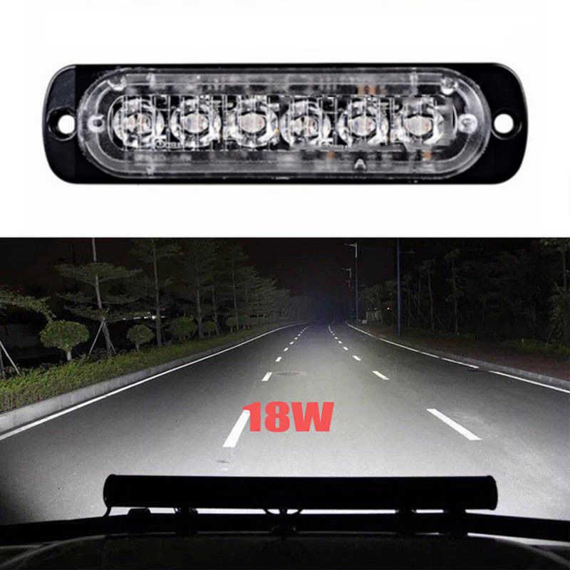 Oto aksesuarları Ultra ince 6LED şerit iş lambası şeridi sürüş sis lambası beyaz araba SUV Van UTV 1*6 LED araba acil durum ışıkları
