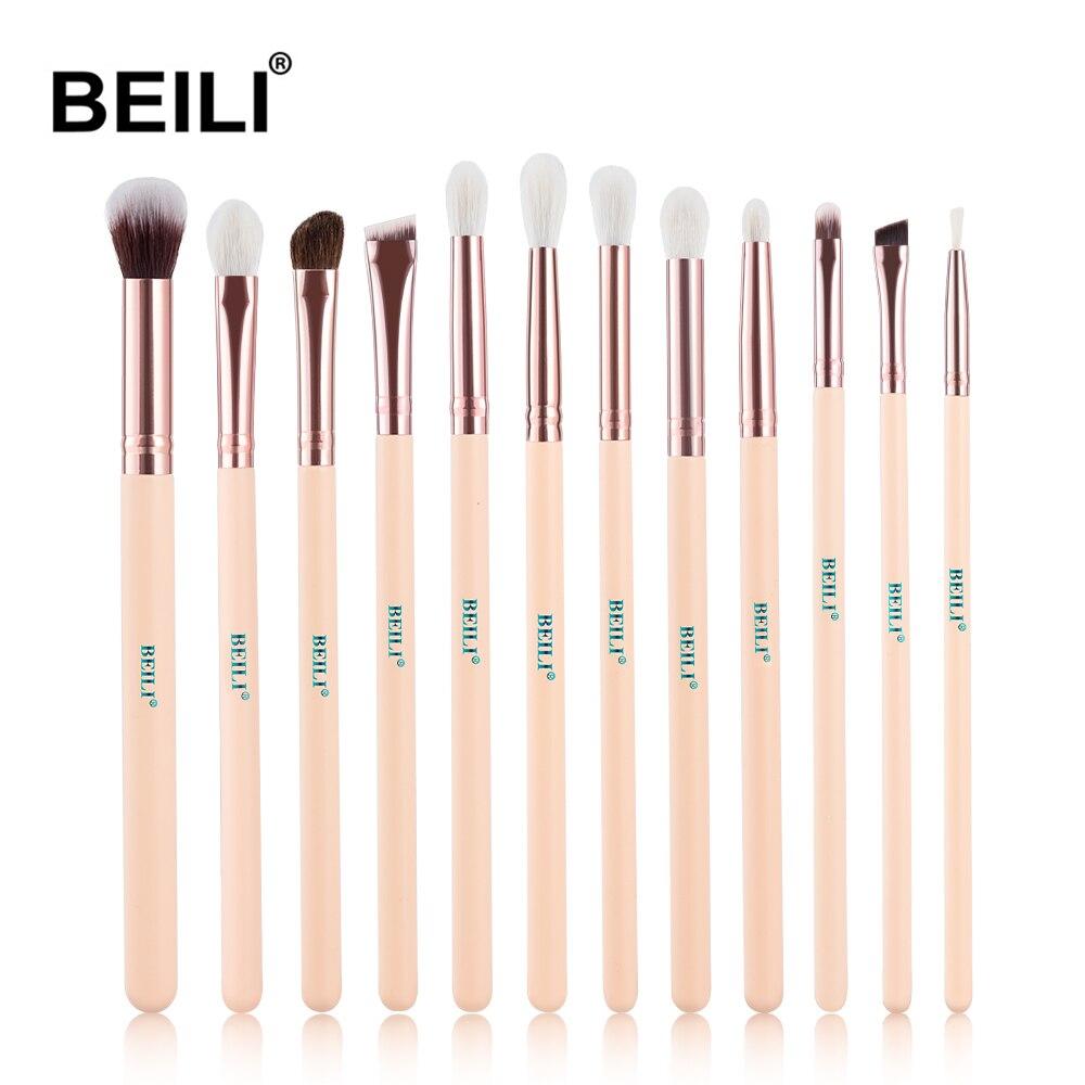 BEILI Professional Rose Eye Makeup Brushes Golden Natural Goat Pony Synthetic Hair Eye Shade Eyeliner Contour Makeup Brush Set