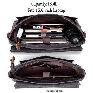 Image 4 - VASCHY teczka dla mężczyzn Vintage torba kurierska z płótna Laptop torba na ramię Bookbag z odpinany pasek teczka mężczyzn