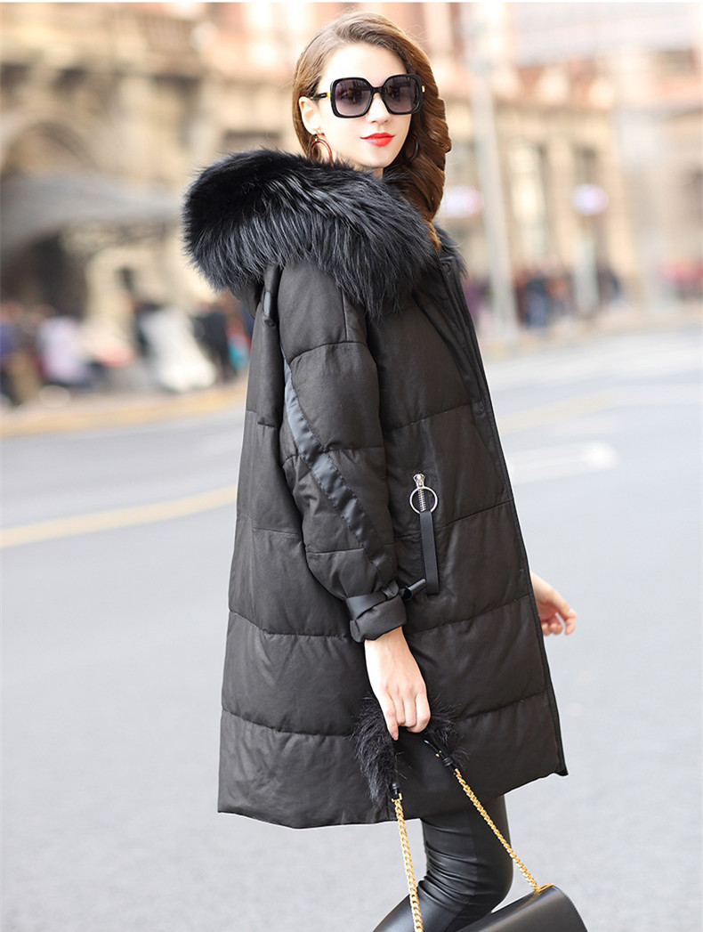 Sheepskin Real Coat Female Raccoon Fur Collar Down Jackets Winter Jacket Women Genuine Leather Jacket Chaqueta Mujer MY