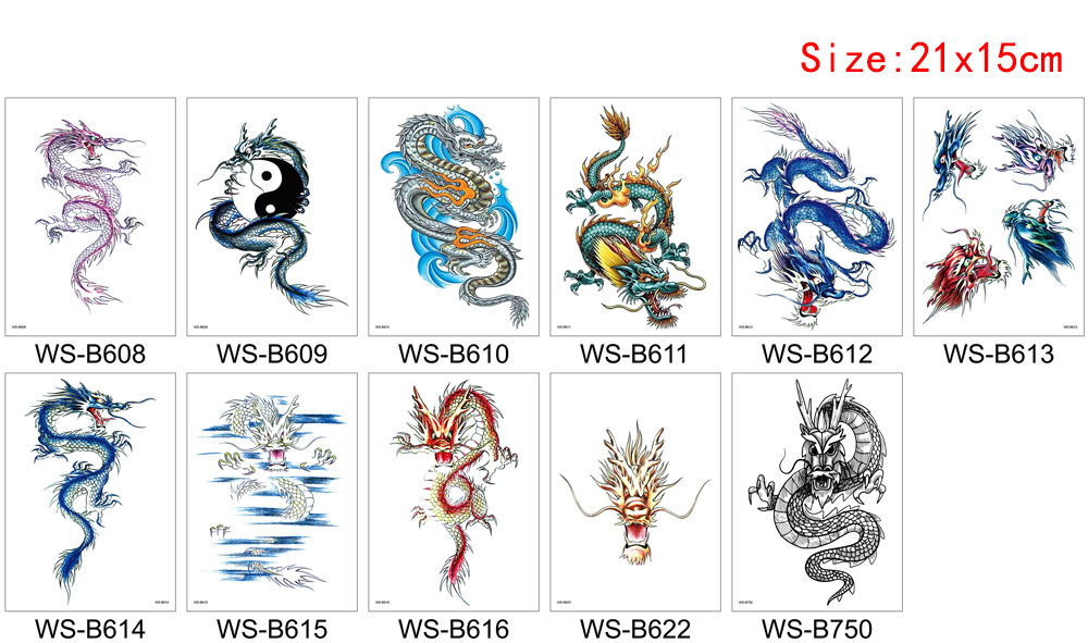 Chinese Dragon Tattoo Fake Water Transfer Waterproof Temporary Body Art Sticker for Woman Man Colored Sleeve Arms Makeup Tattoo 3D Removable (4)