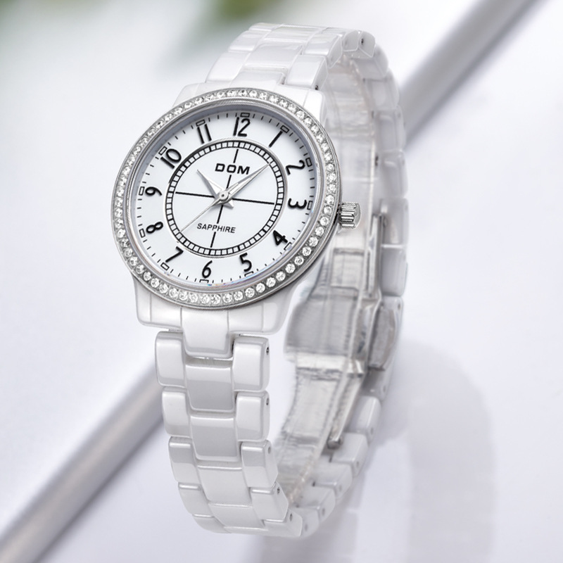 DOM (Dom) National Joint Guarantees New Style Watch Fashion Ceramic WOMEN'S Watch Waterproof T-558-7M2