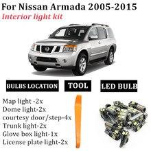 13x carro livre de erros led interior mapa dome placa de licença lâmpada kit para nissan armada 2005-2015 interior carro luz accessorie