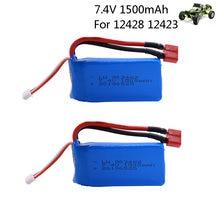 2 stks/partij 7.4 V 1500mAh Lipo Batterij 903462 T plug Voor Wltoys 12423 12428 4WD Crawler RC Auto Batterij 9125 2S Lipo 1500 mah 7.4 V