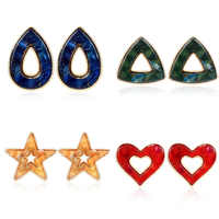 Fashion Candy Colorful Resin Geometric Stud Earring For Women Personalized Elegant Creative Heart Star Teardrop Earring Gift