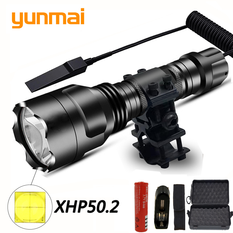 XHP50 LED Tactical Flashlight Lamp Waterproof T6/L2 Torch Remote Switch Hunting Light 5 Modes By 18650 Battery Rechargeable Clip