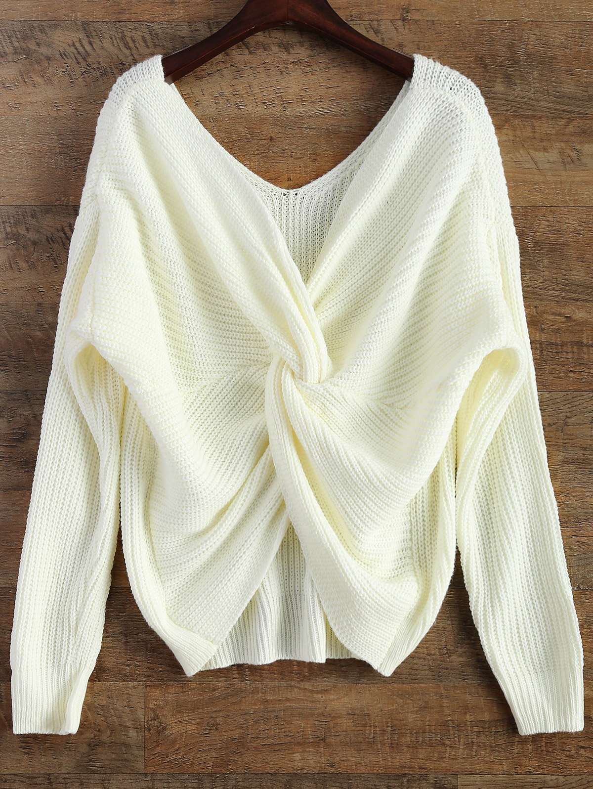 ZAFUL V Neck Twisted Back Sweater Pullovers Women Solid Long Bat Sleeve Tops Sexy Sweaters 2019 Autumn Winter