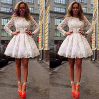 White Long Sleeve Short Cocktail Dress Party Lace Plus Size Ladies Girl Women Homecoming Prom Graduation Semi Formal Dress