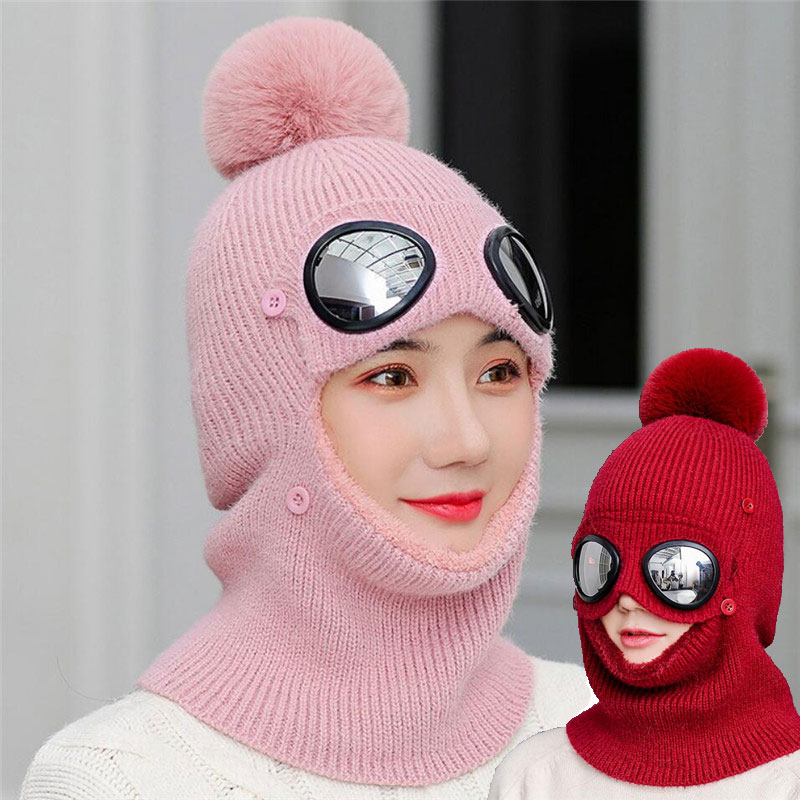 2019 Women Knitted Hat And Scarf Set Woman Winter Warm Short Plush Inlayer Pom Pom Cap Scarves Lady Pilot Aviator Hat Windproof
