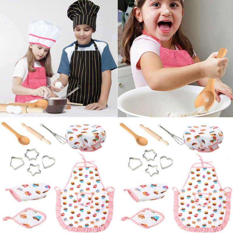 11 Pcs Chef Role Play Set With Dress Up Costume And Kitchen Accessories Kids Pretend Play Toy Set Cookies Toys