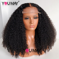 Kinky Curly Lace Front Human Hair Wigs 13x6 Short Bob 250 Density Lace Frontal Wig For Women Full You May Black Peruvian