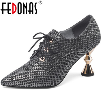 FEDONAS Spring Summer Women Night Club Wedding Cross-Tied Shoes Genuine Leather Butterfly Knot Strange Heeled New Shoes Woman