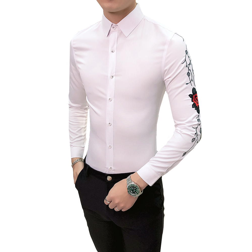 Luxury Printing Floral Embroidery Shirt Personality Clothing Men Black White Social Club Party Wedding Long Sleeve Shirt
