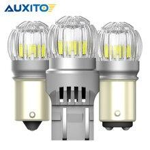 AUXITO 2 шт. T20 7443 светодиодный автомобиль лампа W16W T15 P21W Ba15s Bay15d P21/5 Вт светодиодный сигнальная лампа 6000K белый обратный парковка светильник днев...