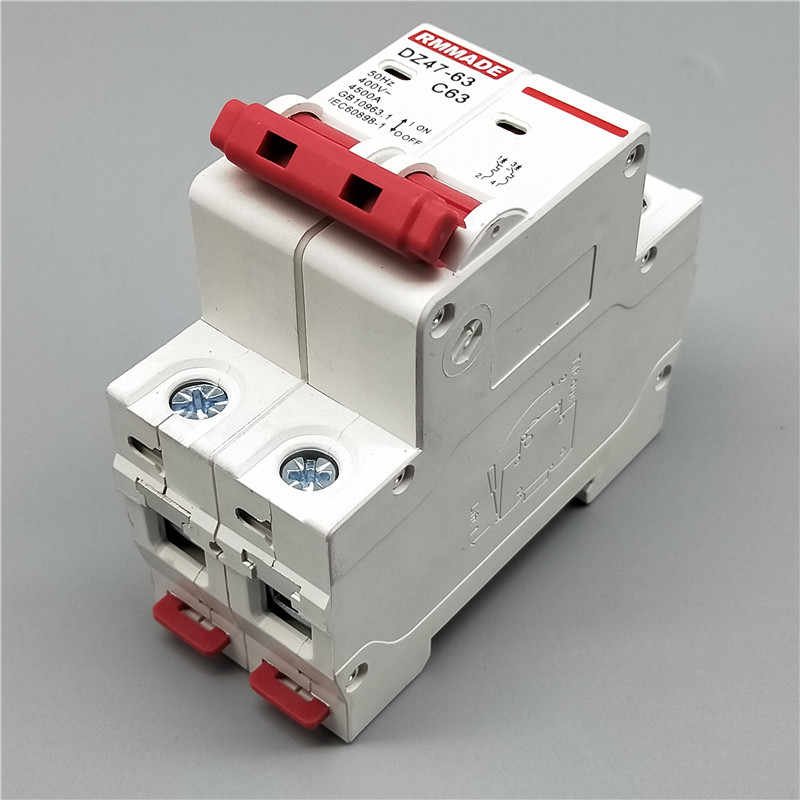 AC220V-400V DZ47-63 2P 6A 10A 16A 2P 20A 25A 32A 40A 50A 125A מיני מפסק מגזרת מתג מיניאטורי ביתי אוויר מתג