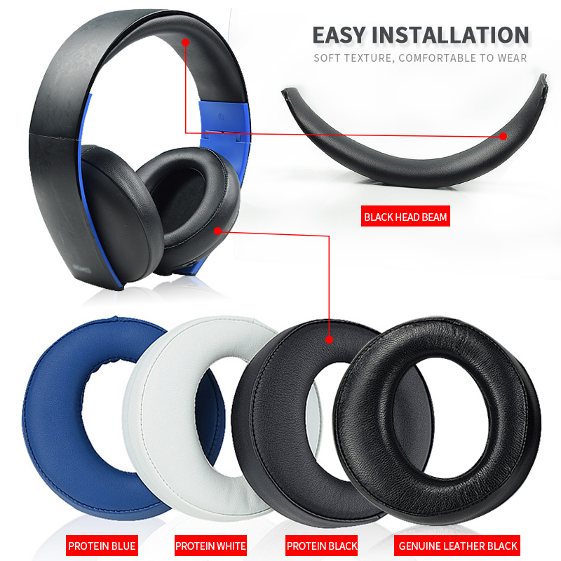 Original Black Ear Pad Cushion earmuff earpads For SONY gold Wireless PS3 PS4 7 1 Virtual Surround headset CECHYA-0083 L R