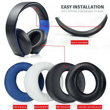 Oryginalna czarna poduszka do słuchawek nauszniki nauszniki do SONY gold Wireless PS3 PS4 7 1 wirtualny zestaw słuchawkowy Surround CECHYA-0083(L + R) tanie i dobre opinie Monlv Ear Pads gold Wireless headset PS3 PS4 7 1 Headphone Leather