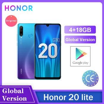 Перейти на Алиэкспресс и купить Honor 20 Lite 4 Гб 128 ГБ глобальная версия спереди 32MP Kirin 710 Octa Core Android 9,0 Face ID мобильный телефон 24MP сзади Камера Чехол для мобильного телефона