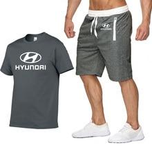 Мужская футболка с коротким рукавом с логотипом автомобиля hyundai, повседневная Летняя мужская футболка в стиле хип-хоп, высокое качество, хлопковые футболки, штаны, костюм из 2 предметов
